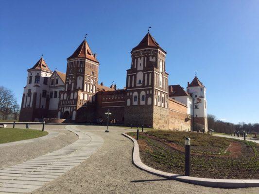 red brick medieval mir castle