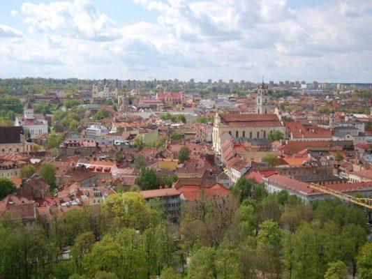 Vilnius Old city red roofs form the observation platform