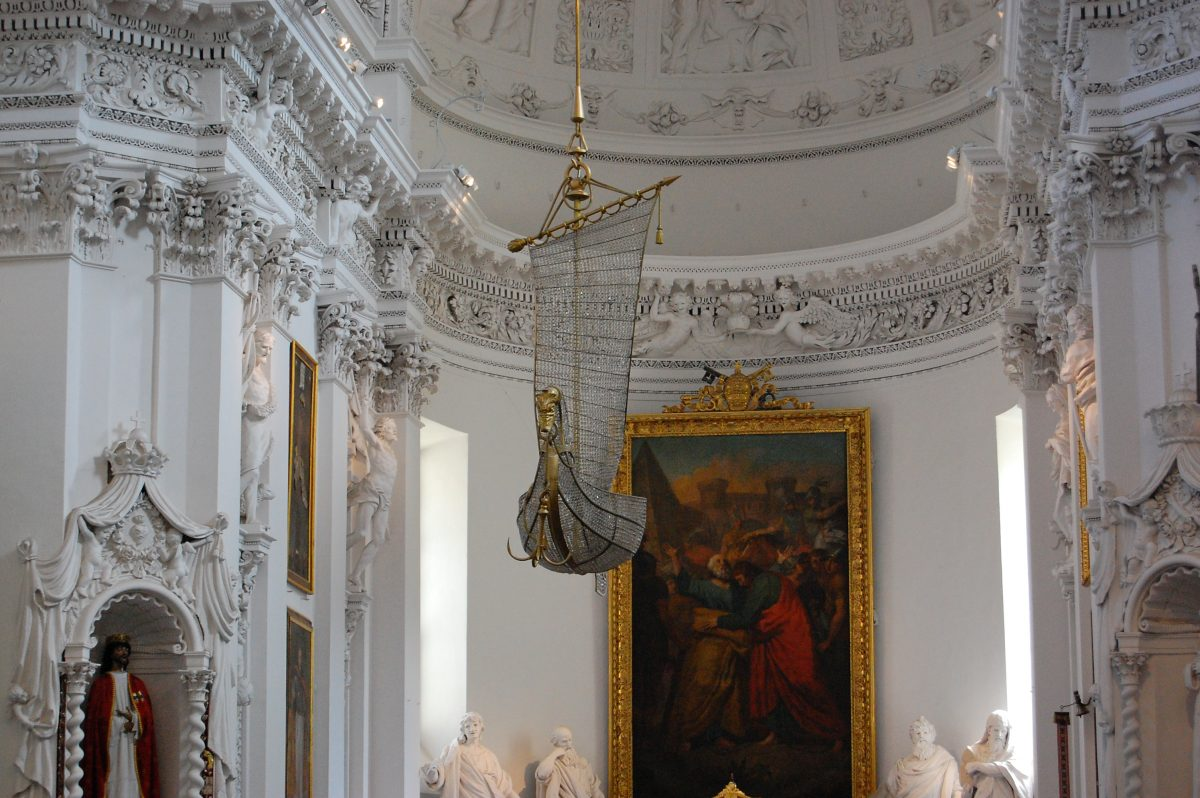 white baroque decorations in Vilnius St. Peter and Paul church