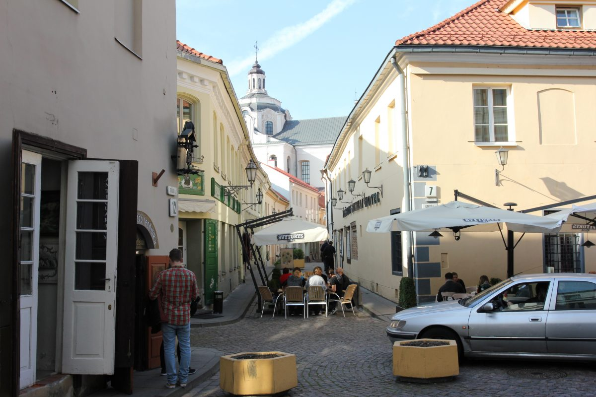 Narrow streets and cozy coffee shops In the medieval ghetto of Vilnius