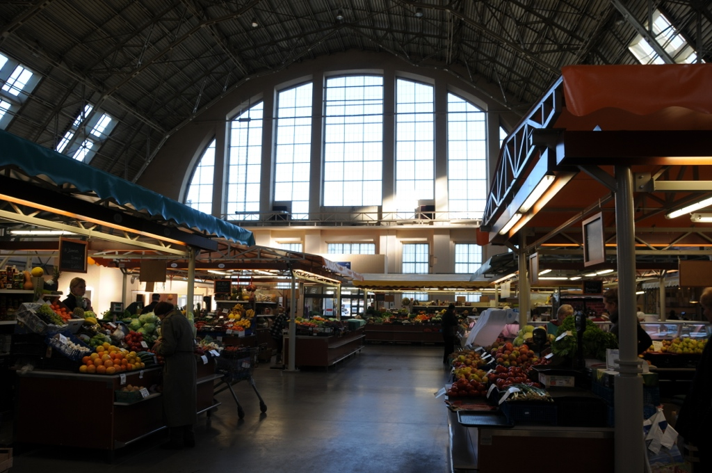 Huge hall with kiosks of Riga central market
