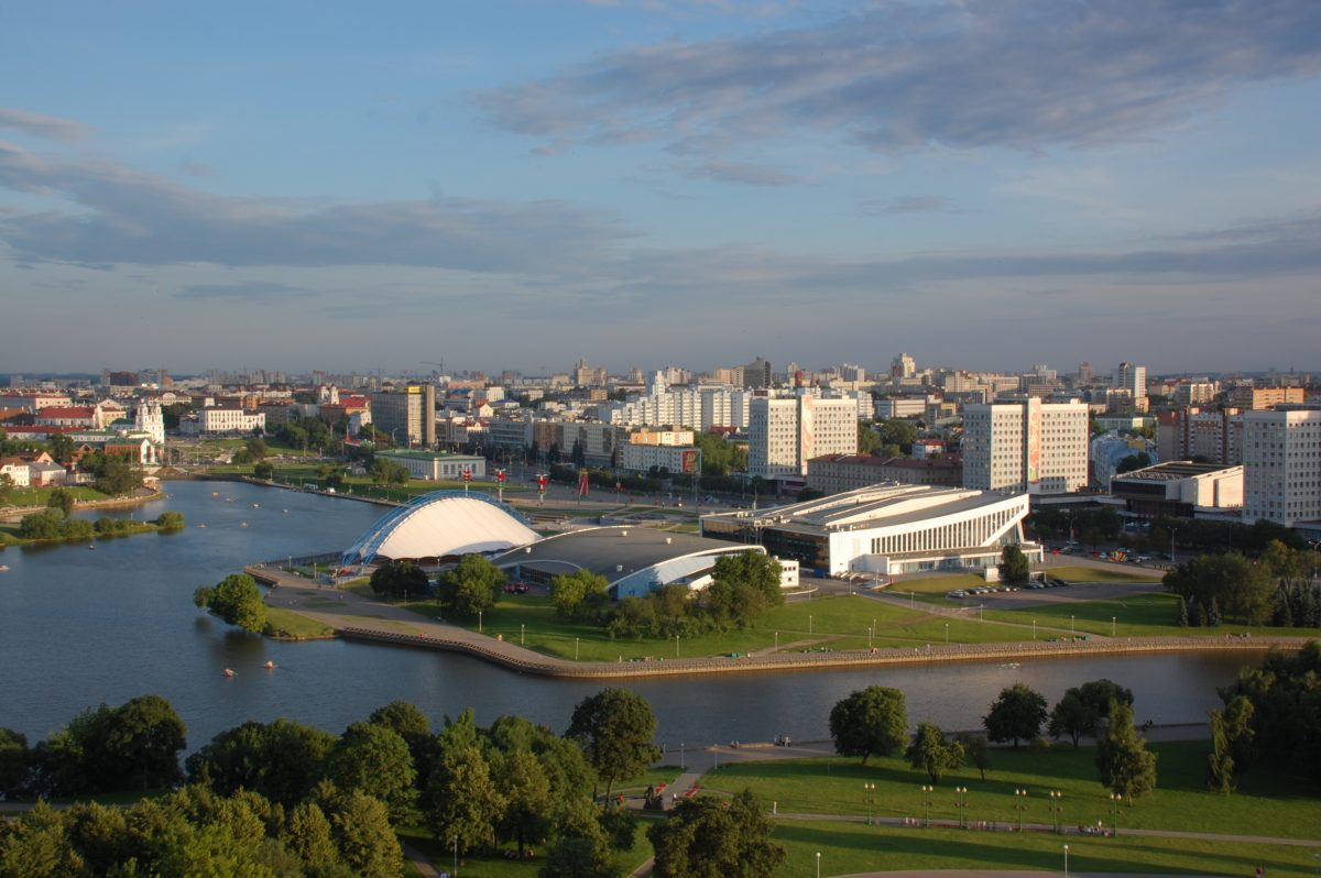 View of Minsk from the window of the hotel, river is crossing the city