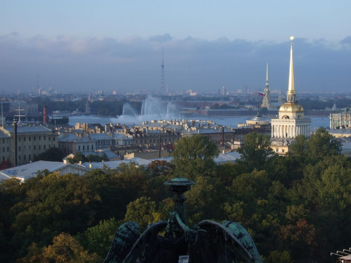 Neva river, spires of buildings and churches and panoramic view of the city