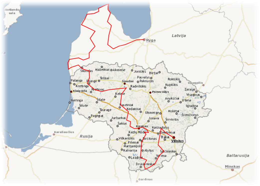 Jeep safari map Lithuania and Latvia