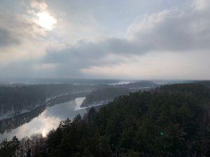 Panoramic view of Neman river in winter in Druskininkai