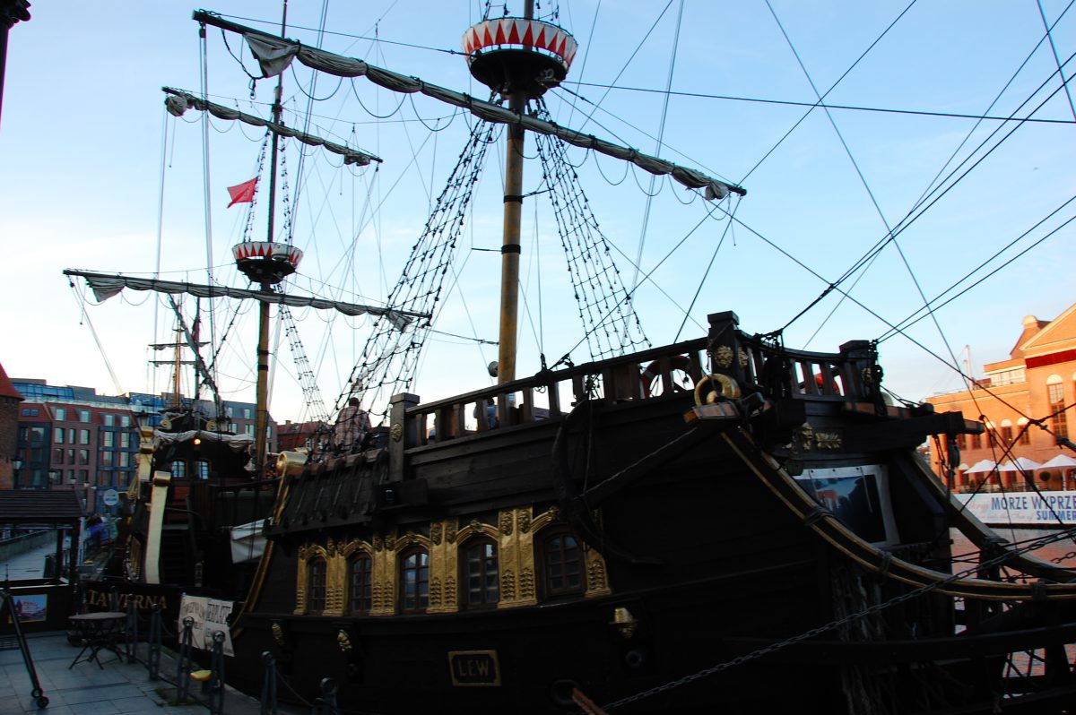 Renovated, wooden Old Ship in Gdansk