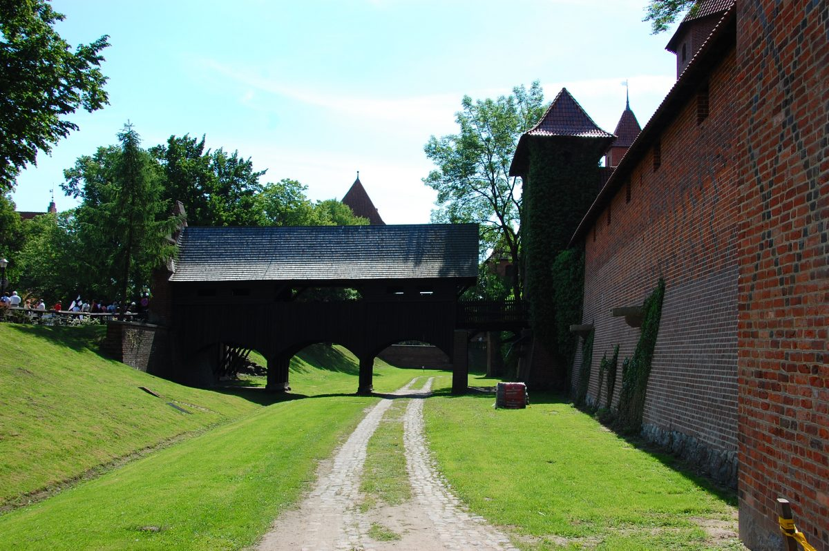 Defensive trench around the red brick walls in Malbork Castle, Poland
