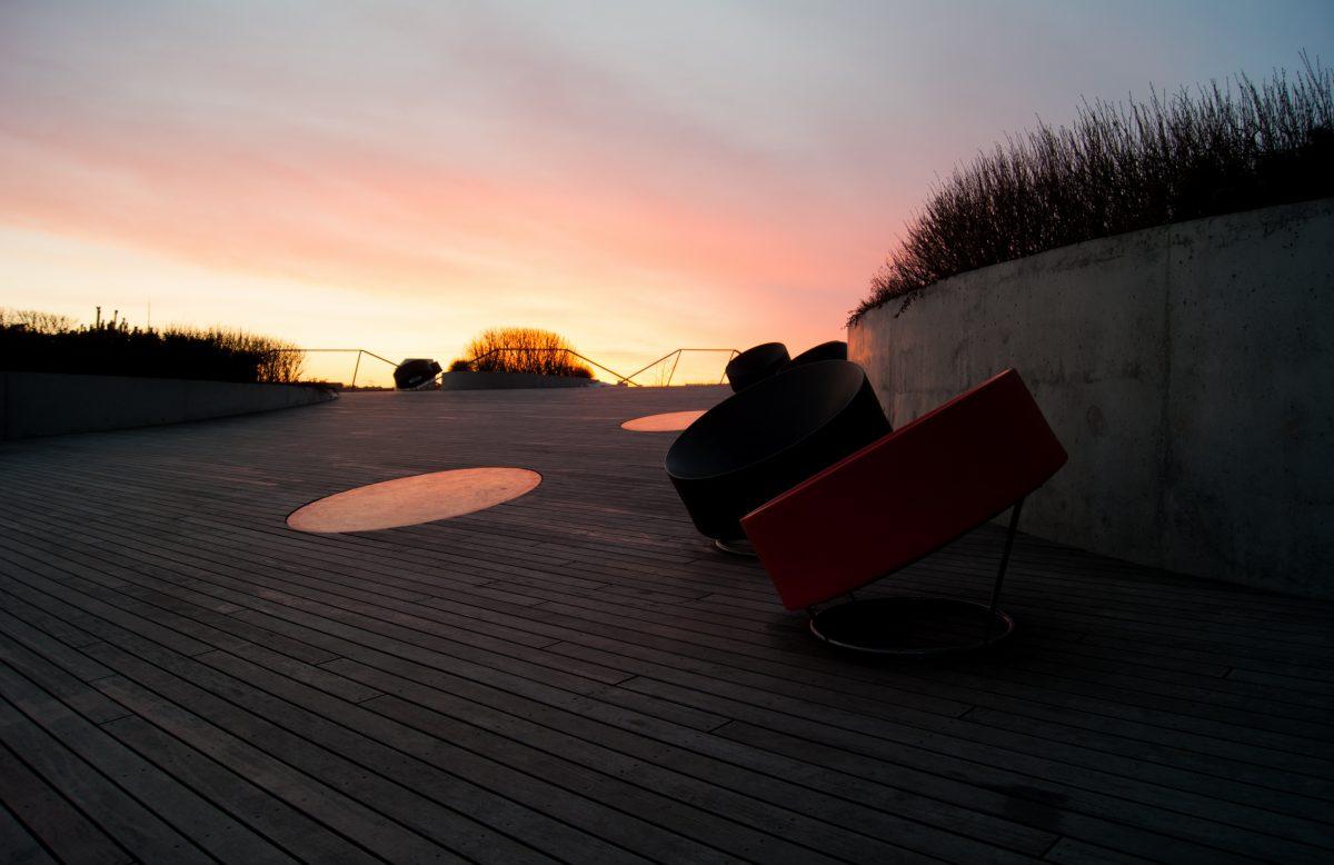Swedbank terrace at sunset in Vilnius