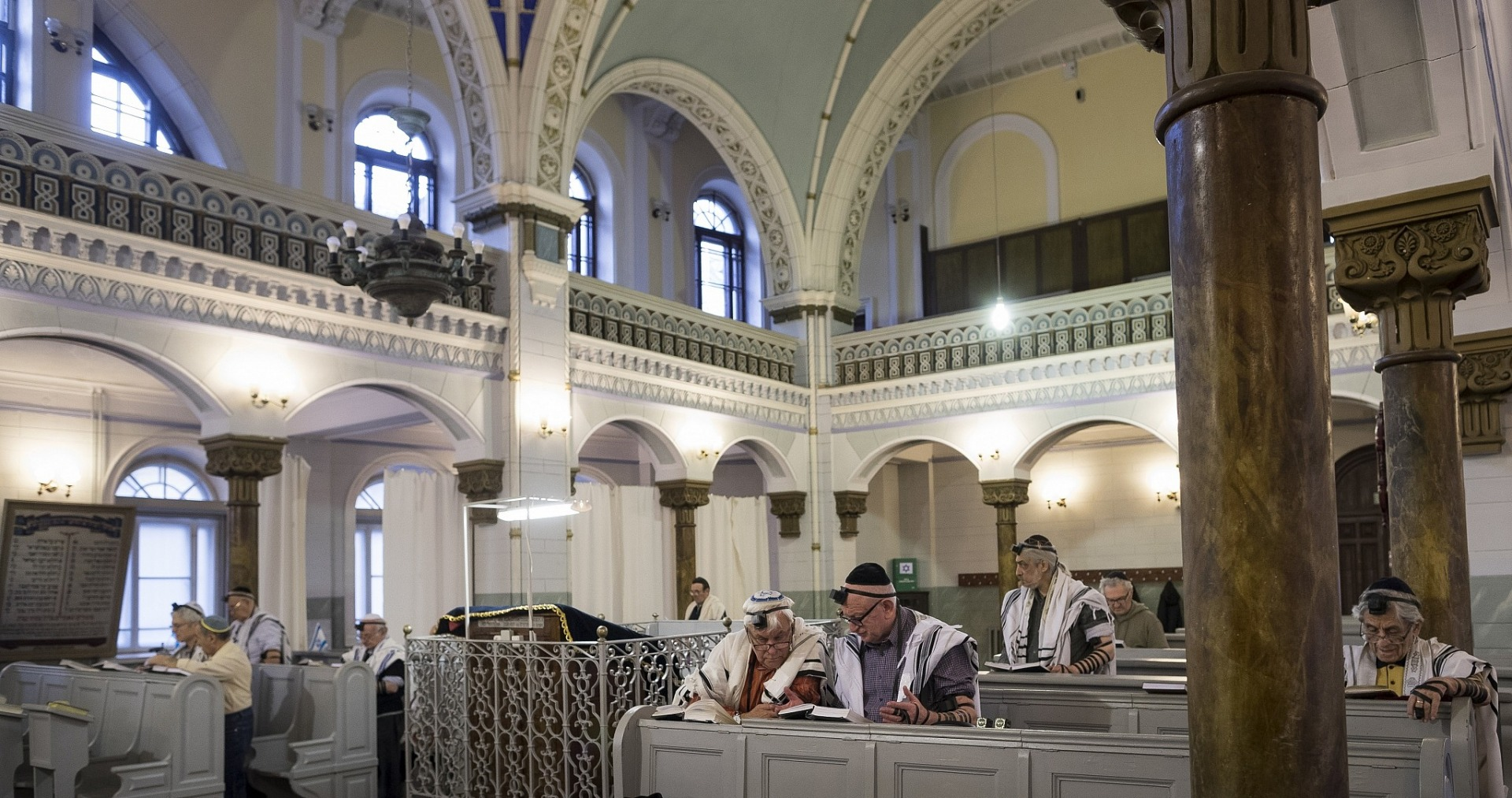 Lithuanian Jewish men pray, during a morning service in a Synagogue in Vilnius, Lithuania,